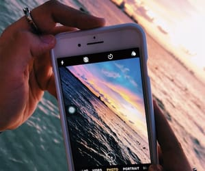 photography, sunset, and ocean image