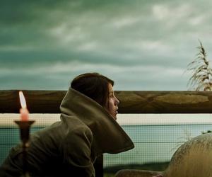 candle, girl, and sky image