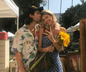 boy, couple, and flowers image