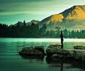 mountains, green, and lake image