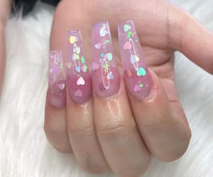 nails, aesthetic, and hearts image