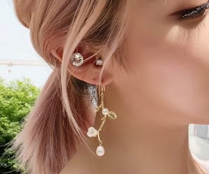 elegance, fashion, and flower earring image