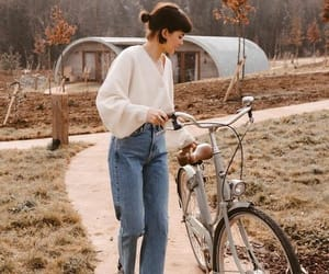 autumn, bike, and clothes image