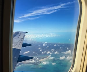 airplane, bahamas, and blue image
