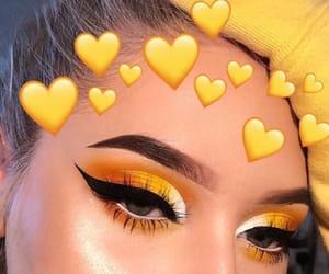 makeup, yellow, and eyeshadow image