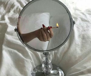 mirror, fire, and white image