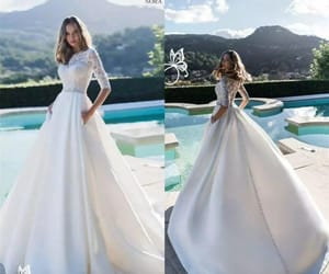 bride, vestido de novia, and relationship goals image