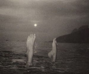 sea, black and white, and feet image