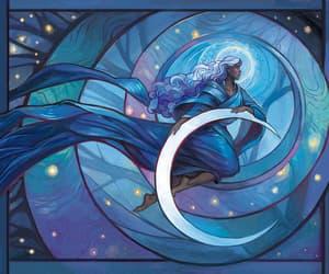 art, luna, and blue image