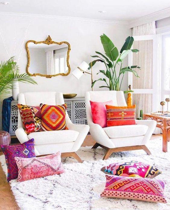 boho living room, brick wall, living room decor ideas ...