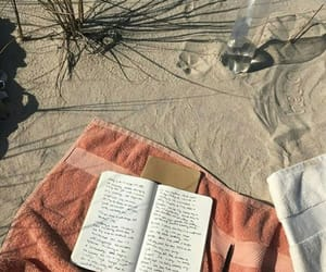 beach, book, and aesthetic image