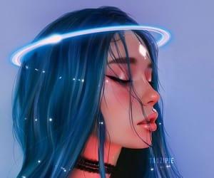 anime, blue, and choker image