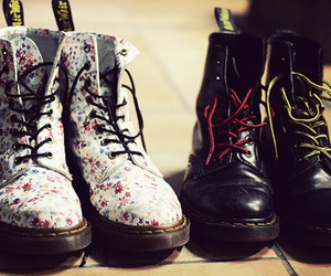 black, floral, and shoes image