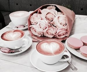 coffee, flowers, and rose image