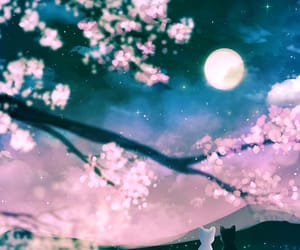 artemis, cherry blossom, and luna image