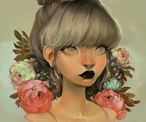 art, black lips, and flower image