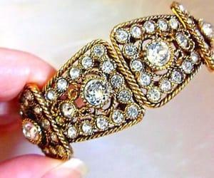 etsy, clamper bracelet, and gold tone bracelet image