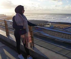 beach, hijâbi, and fashion image