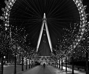 london, black and white, and light image