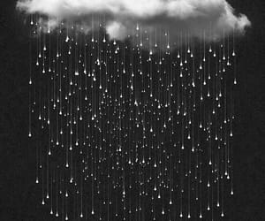 art, black and white, and rain image