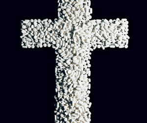cross, pills, and drugs image