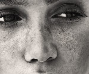 black and white, face, and model image