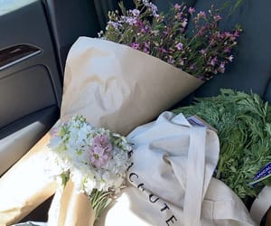farmers market, flowers, and reusable image
