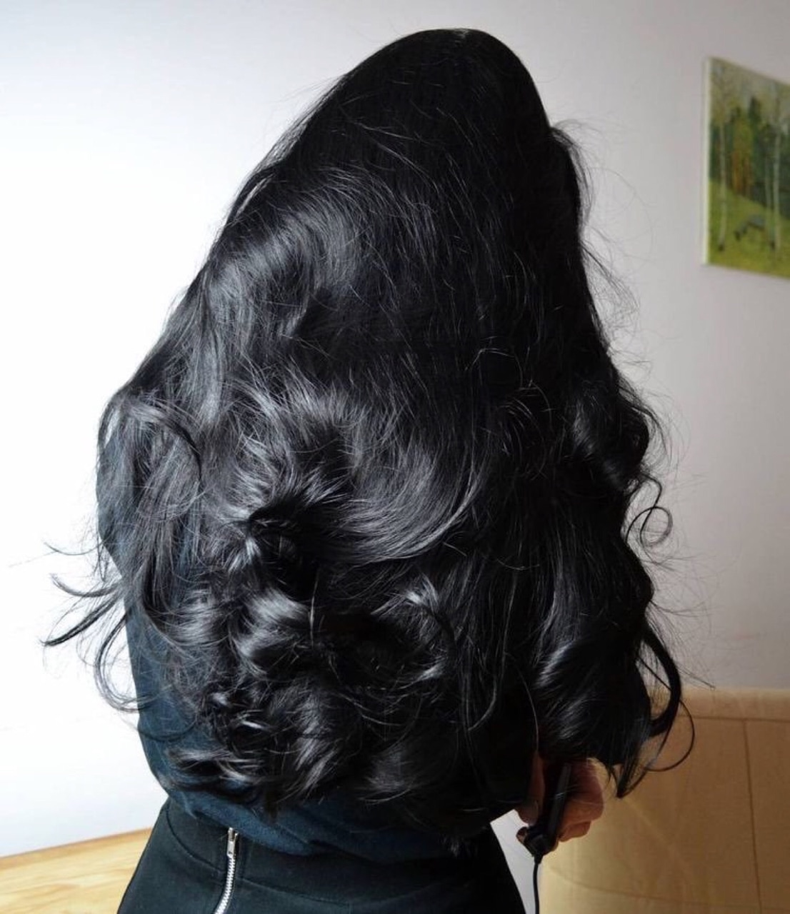 hair #long #wavy #straight #black on We Heart It