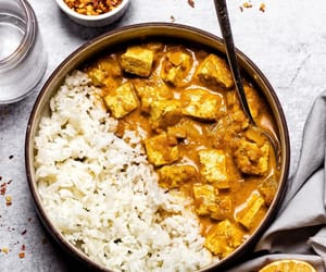 food, rice, and chicken curry image