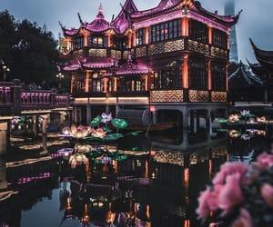 china, architecture, and night image