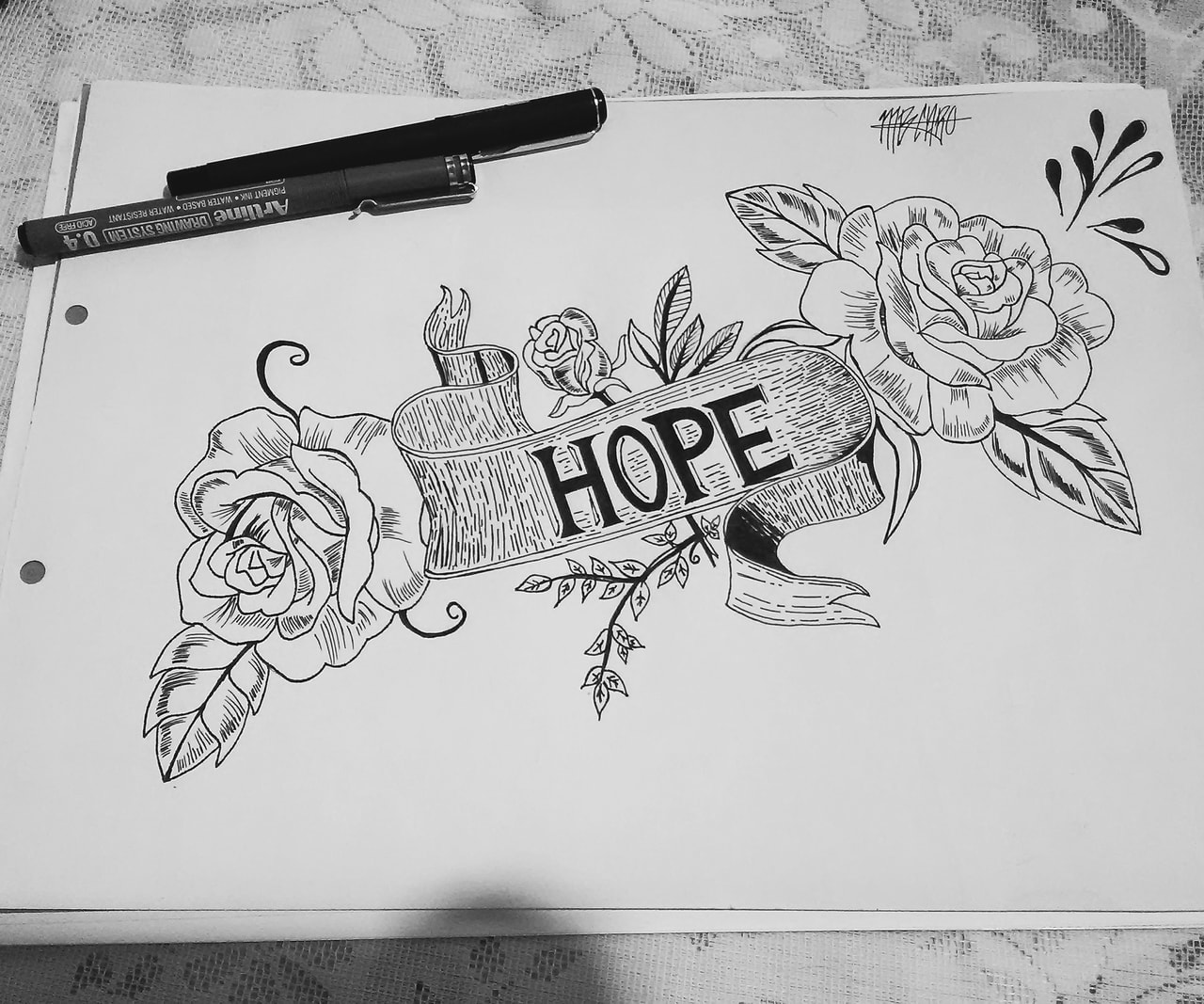 drawing, hope, and tattoo image