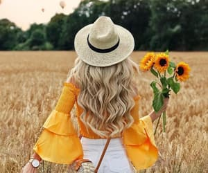 girl, inspiration, and sunflower image