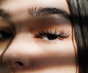 black hair, closeup, and eyes image