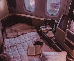 airplane, bed, and travel image