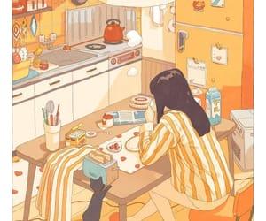 girl, orange, and anime image