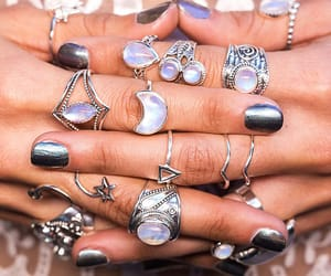 jewelry, silver, and moonstone image