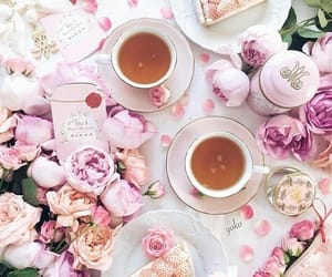 cake, tea, and flowers image