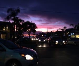 car, sky, and purple image
