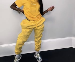 yellow, hair, and outfit image