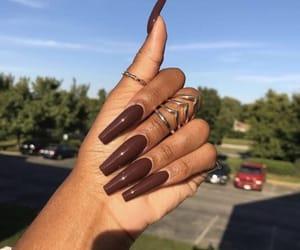 art, nails, and brown image