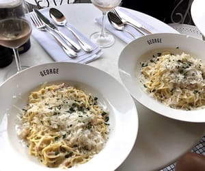 food, pasta, and drinks image