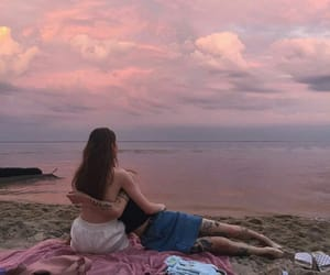 girls, pink, and sky image