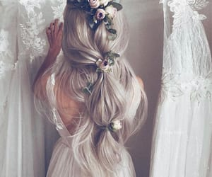 hair, hairstyle, and flowers image