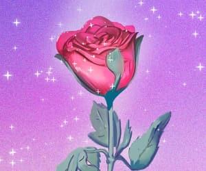 kawaii, rose, and moon image