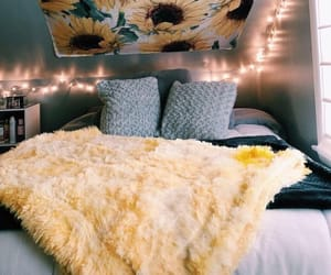sunflower, bedroom, and yellow image
