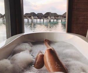 girl, bath, and ocean image