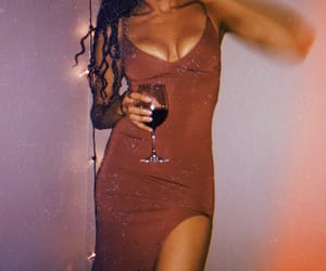 boobs, wine, and dress image