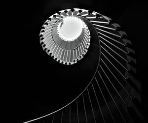 black and white, monochrome, and staircase image