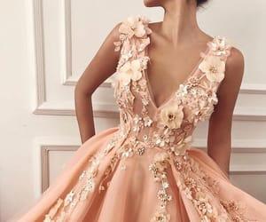 dress, beauty, and flowers image
