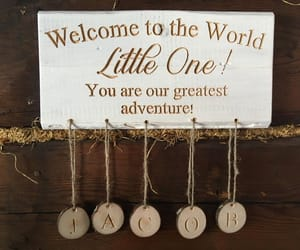 etsy, rustic baby sign, and baby shower gift image